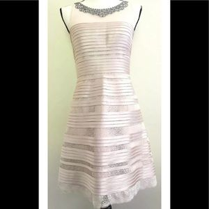 BCBG MaxAzria Dress Size 6 Blush Jeweled Ribbon